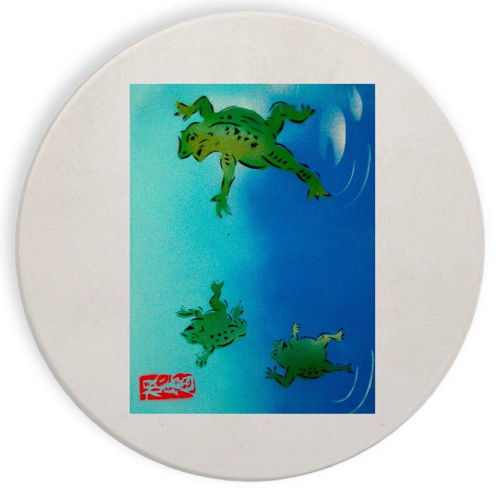 Frogs in the Water Mural Yuya Negishi yuyart – セラミックストーンコースターコースターセットの4つの   B073WQPPR3