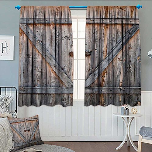 Country Decor Thermal Insulating Blackout Curtain Old Wooden Garage Door American Style Decorations for Bathroom Print Vintage Rustic Theme Decor Home Antiqued Look Polyester Bronze Charcoal Patterne