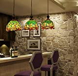 Makenier Vintage Tiffany Style Stained Glass 3-light Dragonfly Lampshade Dining Room Bar Pendant Lamp - 7 Inches Lampshade