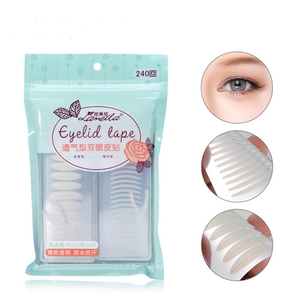 Asap chic invisibile fibra doppia palpebra nastro adesivo–Instant Eye Lift senza chirurgia–perfetto per cappuccio, Droopy, irregolari, o mono-eyelids (240coppia, Wide + Slim)