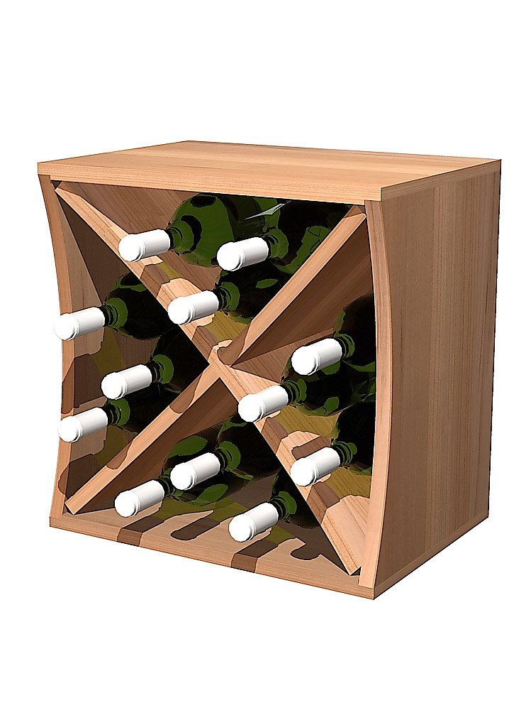 Curvy Wine Storage Cube with Diamond Insert Concave; Rustic Pine Unstained by Wine Cellar Innovations (Image #1)