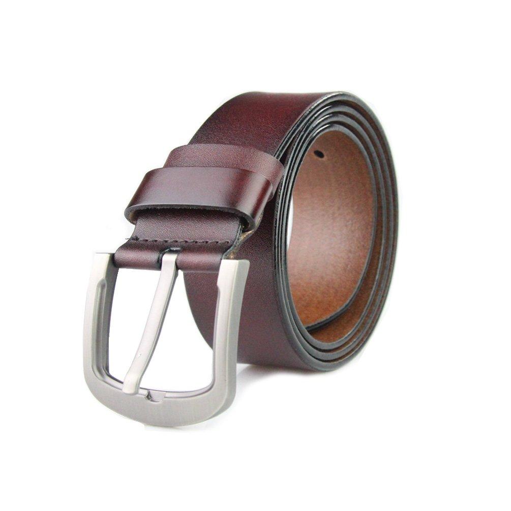 H-Time Men's Belt, Mens Genuine Leather Belt for Dress & Jeans (Suit Waist 34-36, Brown)