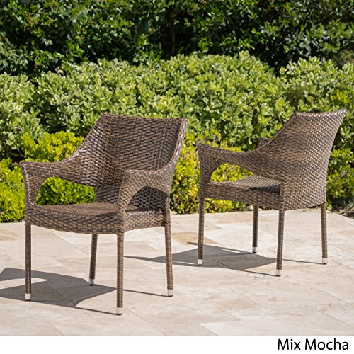 (Del Mar Patio Furniture ~ Outdoor Mix Mocha Wicker Stacking Chairs (Set of 2))