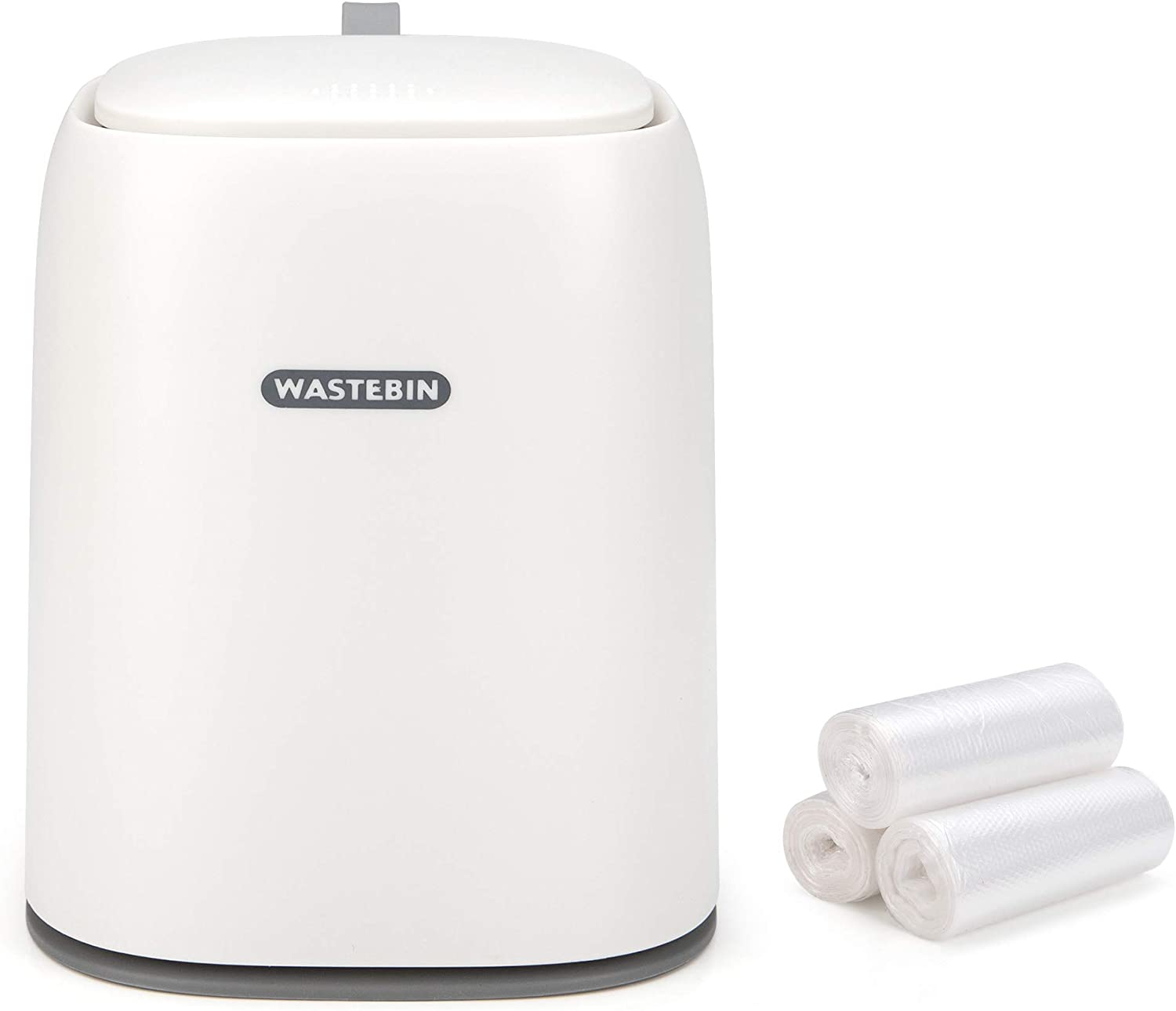 Mini Countertop Trash Can with 3 Trash Bags, Modern Waste Can with Press Type Lid, 1.5 L / 0.40 Gal Wastebasket Trash Can Dispenser, Mini Bin for Coffee Table, Bathroom Vanity top (White)