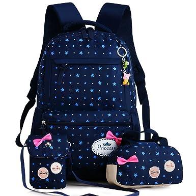 42b037eaf360 Cute Teen Girls 3 in 1 Schoolbag Waterproof Nylon Patterned Bookbag Laptop School  Backpack Handbag Purse