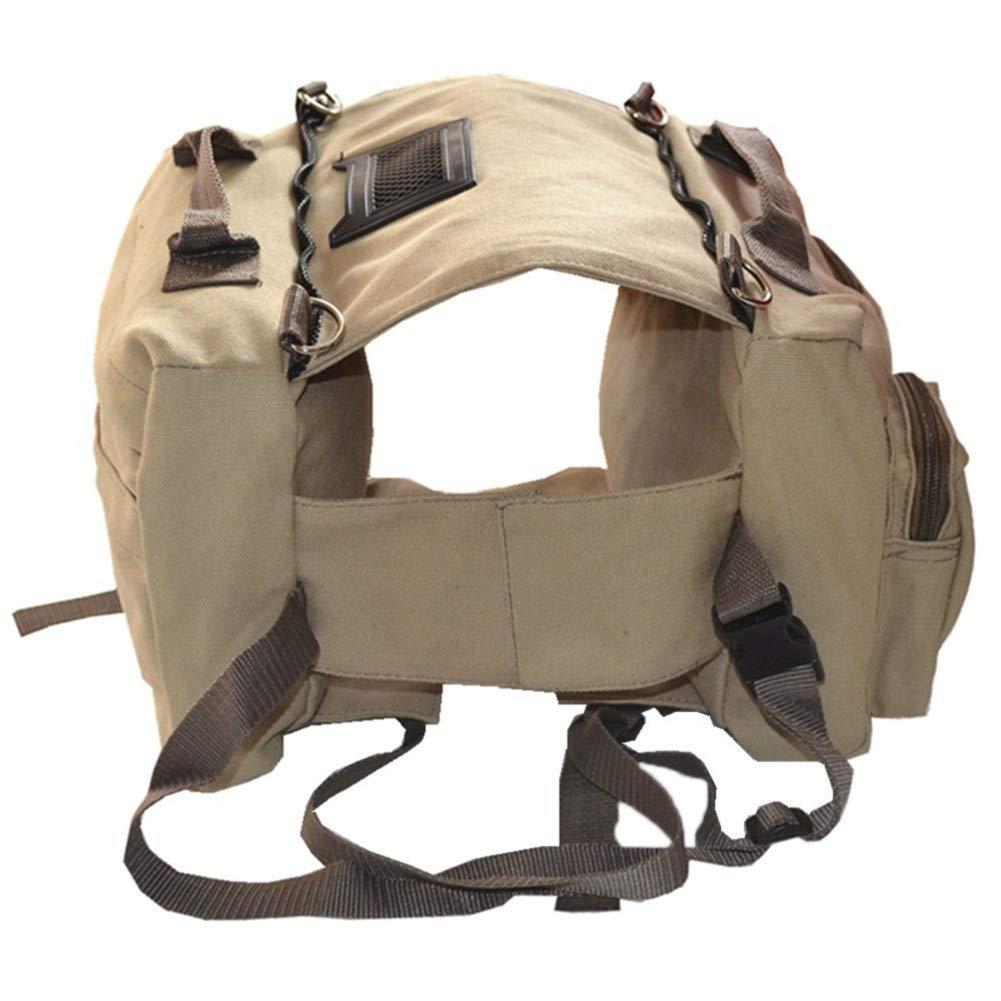 Dog Saddle Backpack, Pet Canvas Pack Carrier Adjustable Removable Hiking Camping Travel Backpack for Medium & Large Dog (Khaki) danjie