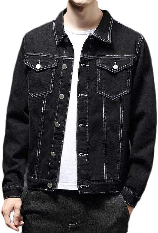 Yeirui Men Classic Slim Fit Solid Long Sleeve Button Front Denim Jacket Jean Coat