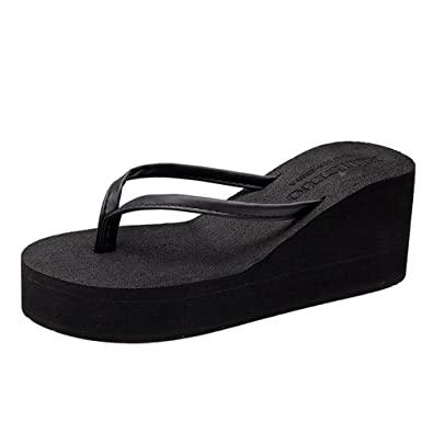 Damen Fashion Plattform Flip Flops Sommer Comfort Outdoor Anti-Slip Thong Beach Wedge Sandalen qvoJ1qTqtl