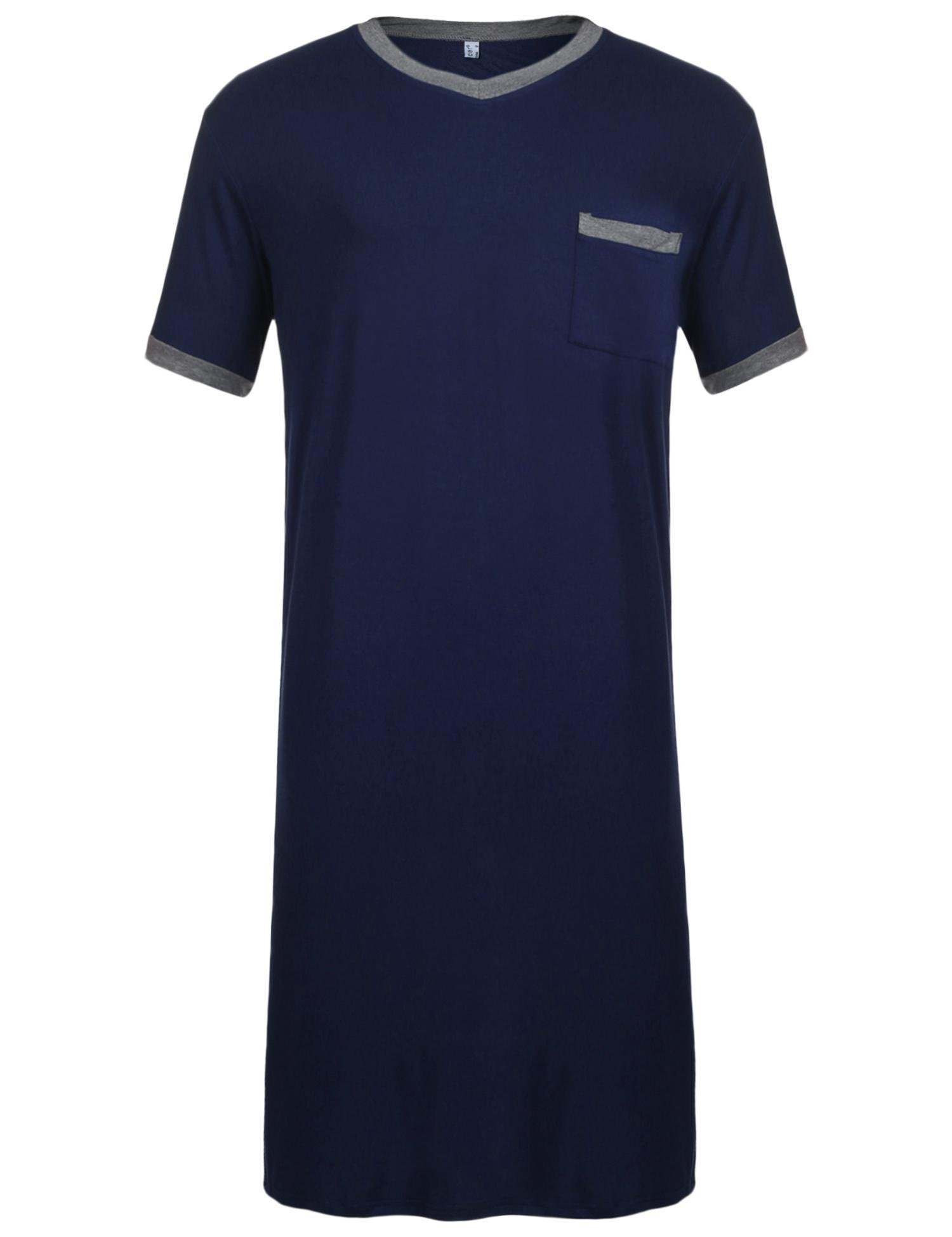 Dicesnow Men's Nightshirts Soft Cotton Big & Tall Short Sleeve Henley Sleep Shirt