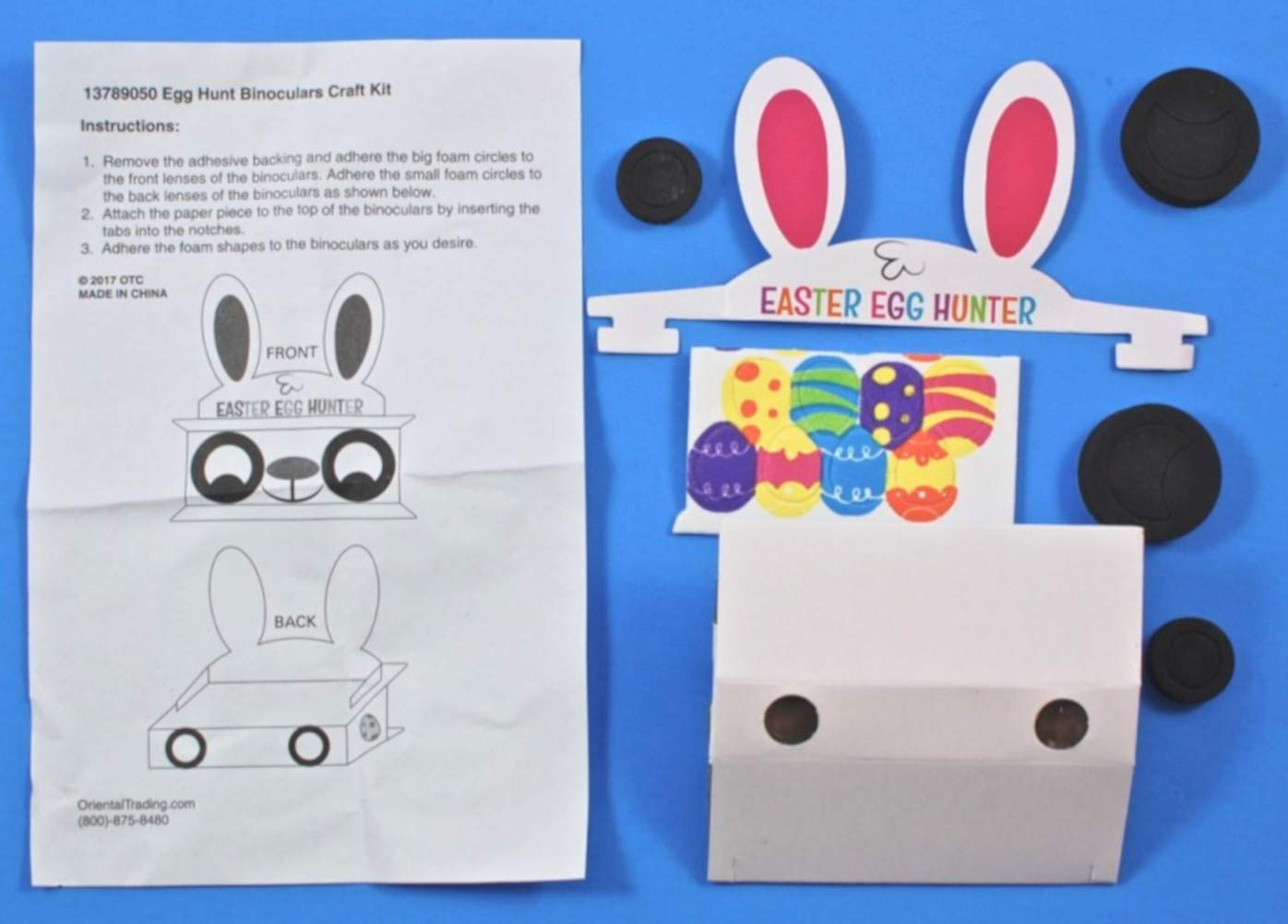 Set of 12 Bundled with an Extra Treat of Candy GBBD Easter Craft Kits for Kids Binoculars to Hunt Eggs