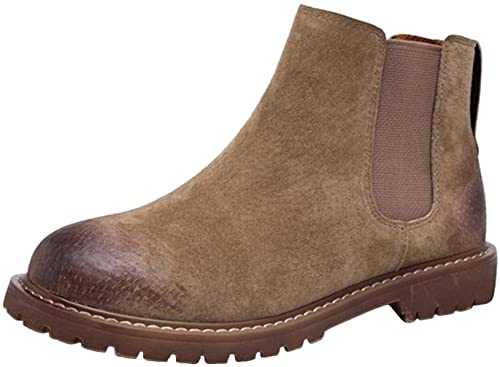 6b76e0a9141 PPXID Women's British Retro Leather Ankle Chelsea Boots