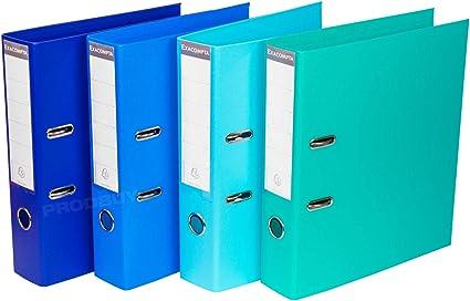 Pack de 4 archivadores de palanca A4 de 70 mm de color azul Shades: Amazon.es: Oficina y papelería