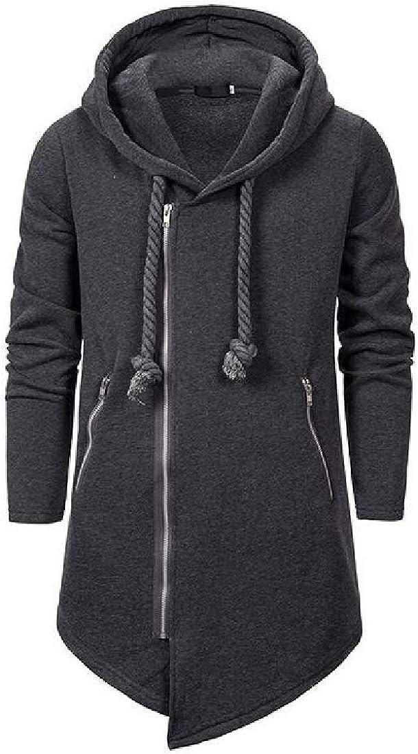 MOUTEN Mens Coat Irregular Loose Zip Up Hooded Hoodies Sweatshirt Coat Jacket