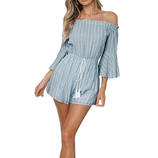 bdb1370490fc Amazon.com  TIMEMEANS Womens Jumpsuit Slash Neckline Stripe Print Bandages Long  Sleeve Mini  Clothing