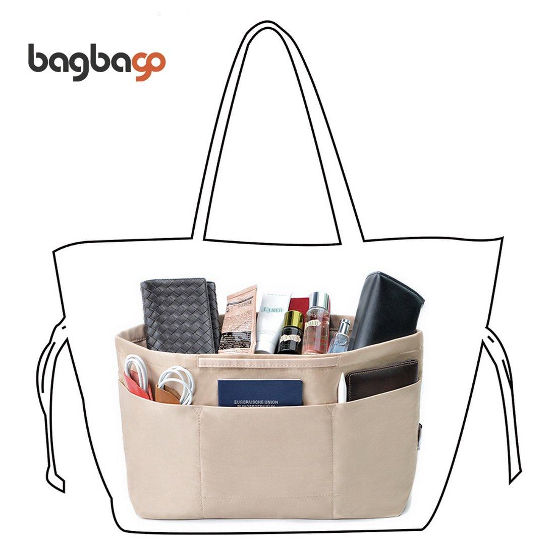BES CHAN 13 Pockets Handbag Organizer Liner Bag in Bag with Anti-Theft Keychain (M,Khaki)