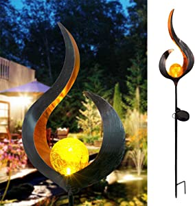 ALLOMN Garden Solar Lights Pathway, Outdoor Crackle Glass Globe Stake Lights IP65 Waterproof Warm Light Flame Light for Path Lawn Yard Garden Decoration (1 PCS)