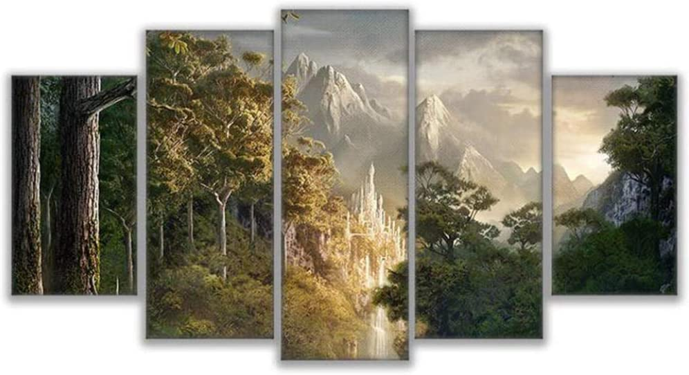 Dskin 5 Piece Multi Panel Modern Wall Art Canvas Print Poster Lord of The Rings Scenery Living Room Home Decor Walls Canvass Framed Christmas gifts-150x80CM