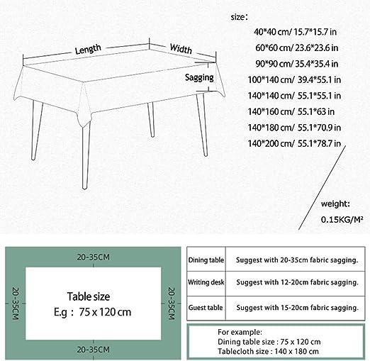 Enhome Mantel Mesa Rectangular Tela, Impermeable Antimanchas Lavable Square Bosque Planta 3D Impresión Manteles para Cocina o Salón Comedor Decoración del Mesa (Gris Hada,100x140cm): Amazon.es: Hogar