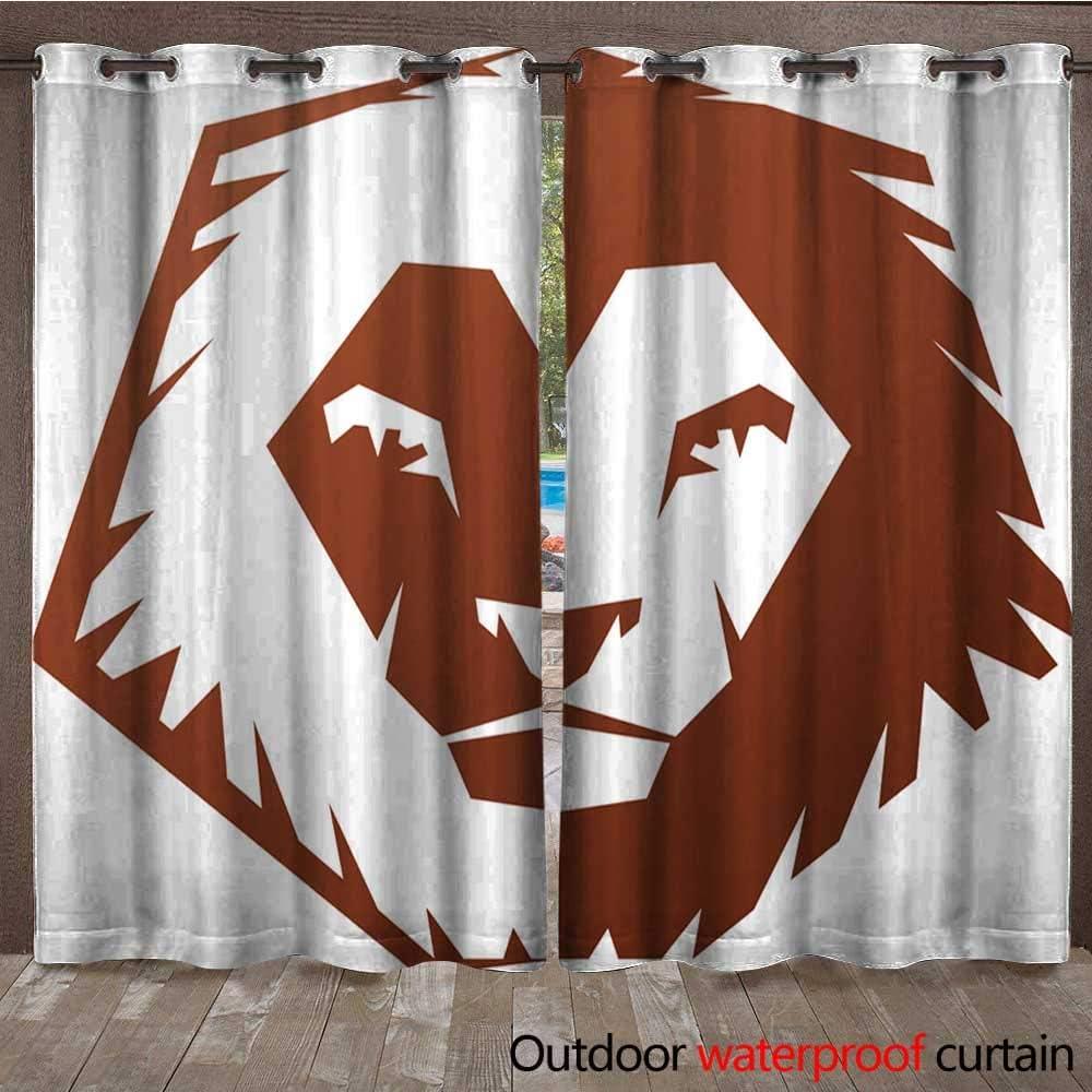 Cortina con ojales en la parte superior con diseño de león ...