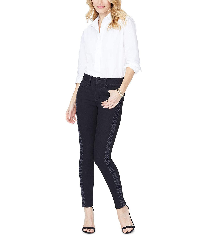 Black Rinse NYDJ Womens Plus Denim Embroidered Skinny Jeans