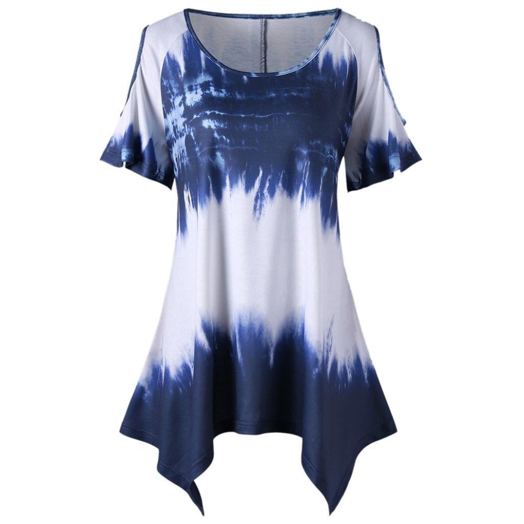 e3d3c25bee Top8  VESNIBA Womens Plus Size T-Shirt O-Neck Short Sleeve Print Open  Shoulder Tops