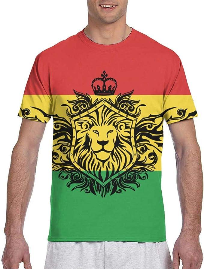 Reggae Rasta Flag Lion3 Hombres Camisetas de Manga Corta Camisetas ...