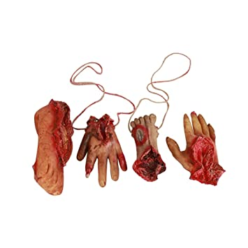 halloween props decorations scary bloody body parts fake severed hands and foot for halloween party and