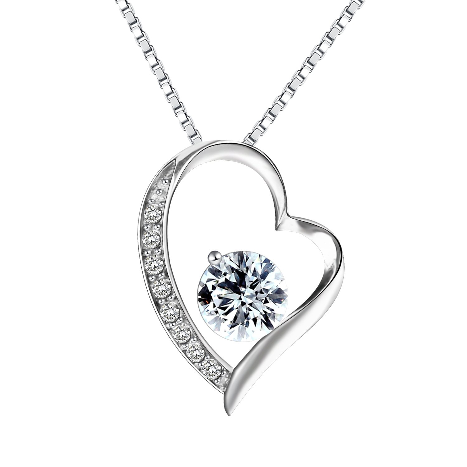 290007e77afd Pealrich 925 Sterling Silver Forever Love Heart Diamond Pendant Necklace