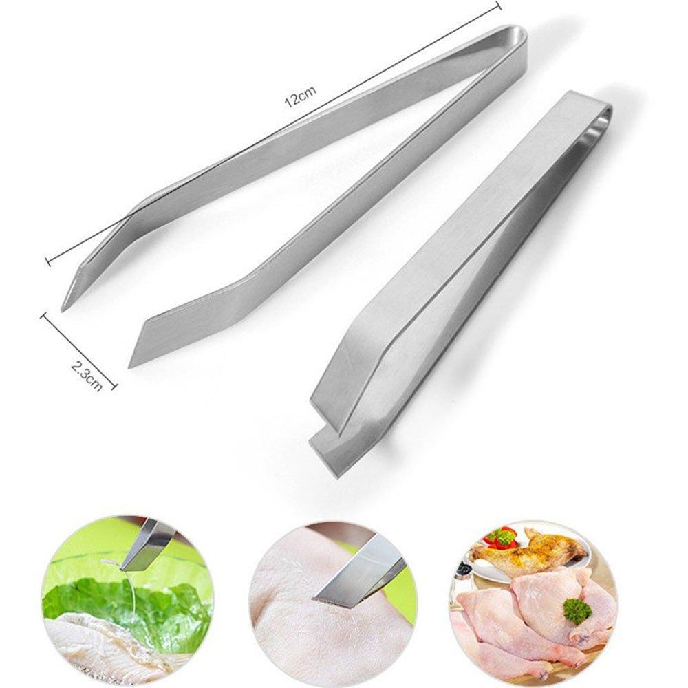 Ecloud Shop 2 Pcs inoxydable fishbone acier Pince Fishbone ustensiles de cuisine clip m/énages Pincer pincettes