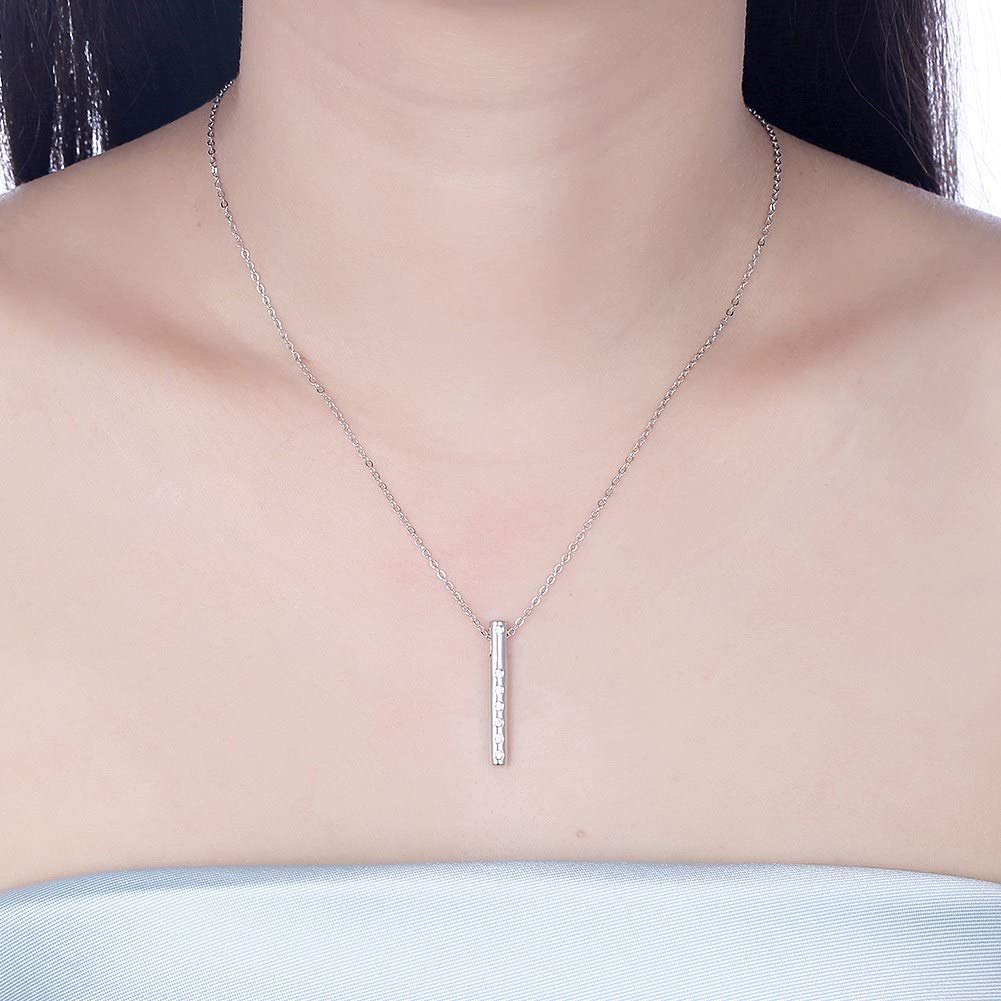 myazs8580 The PTE S925 Sterling Silver Necklace is a Stylish Geometric Diamond-Encrusted Pendant Necklace