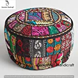 Indian Embroidered Patchwork Ottoman Cover,Indian Decorative Pouf Ottoman,Indian Comfortable Floor Cotton Cushion Ottoman Pouf,Indian Home Decorative Handmade Vintage Pouf Ottoman (Cover Only)