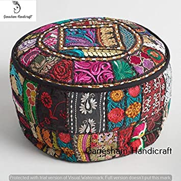 Indian Embroidered Patchwork Ottoman Cover,Indian Decorative Pouf Ottoman,Indian Comfortable Floor Cotton Cushion Ottoman Pouf,Indian Home Decorative Handmade Vintage Pouf Ottoman (Cover Only) GANESHAM