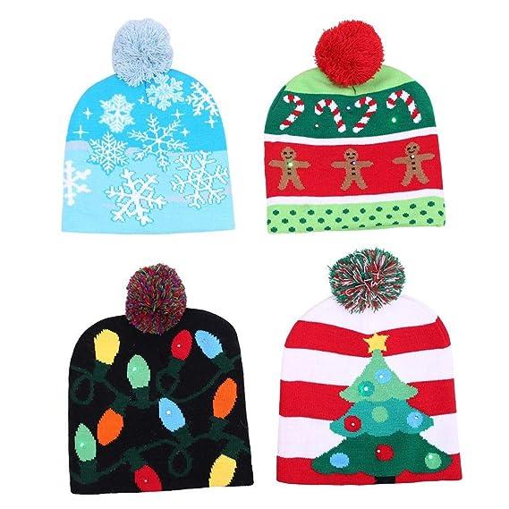 starter Sombrero de Punto - Sombrero de Navidad de Punto LED Gorra  Protectora cálida Decoración de computadora Invierno Nieve Sombrero Suéter Sombrero  de ... dad9819457d