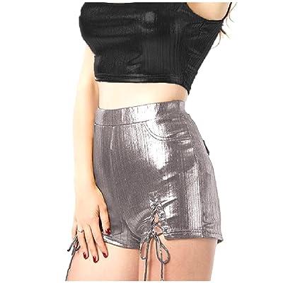 Fseason-Women Stylish Lace Up Club Satin Shorts Over Waist Hot Pants