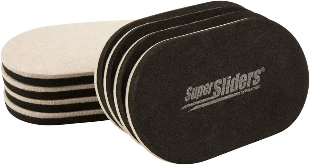 "SuperSliders 4705395N Reusable XL Heavy Furniture Sliders for Hardwood Floors- Felt Floor Protectors, 9-1/2"" x 5-3/4"" Linen (8 Pieces)"