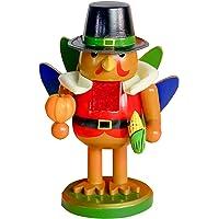 FUNPENY Thanksgiving Decoration, 7 Inch Handmade Turkey Collectible Wooden Thanksgiving Nutcracker