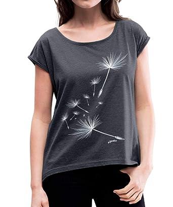 26470c7f5e75d4 Spreadshirt Pusteblume Pflanzensamen Löwenzahn Schirmchen Frauen T-Shirt mit  gerollten Ärmeln