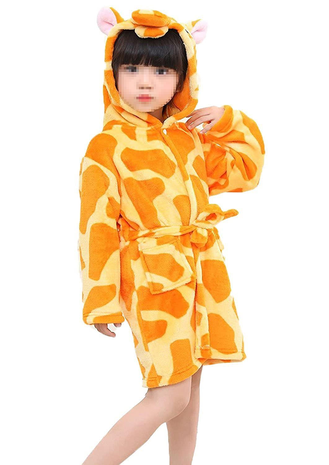 Lazutom Kid's Hooded Bathrobe Fleece Sleepwear Comfy Sleep Robe