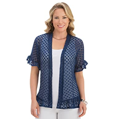 4b5a7db05 Women's Short Sleeve Ruffle Lace Jacket - Made in The USA at Amazon Women's  Clothing store: