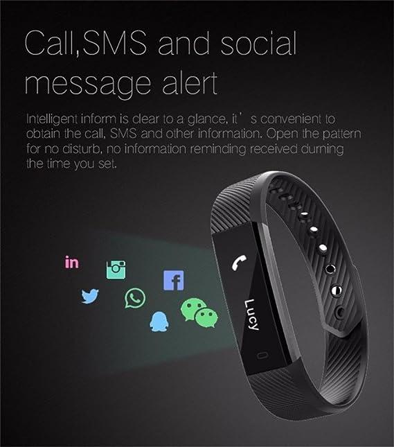 Reloj Inteligente Xinan Reloj Inteligente Bluetooth Pulsera Pulsera Podómetro Sport Fitness Tracker ID115 (❤️Negro): Amazon.es: Relojes