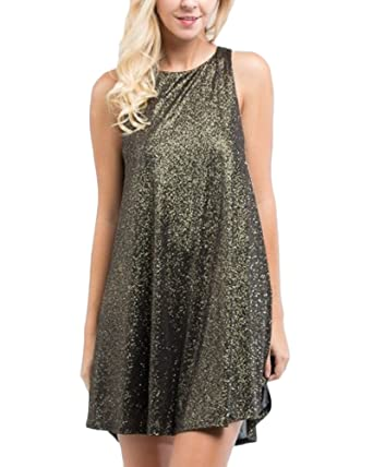d669018b06e5 By Together Black/Gold Glitter Swing Dress (medium) at Amazon ...