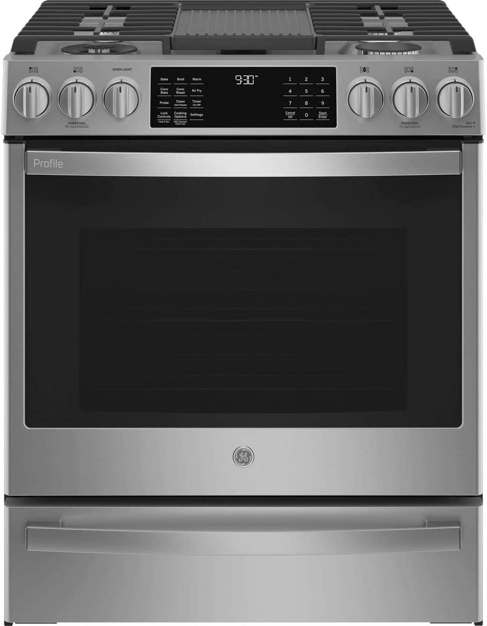 """GE Profile PGS930YPFS 30"""" Smart Slide-In Gas Range with 5 Sealed Burners, 5.6 Cu. Ft. True Convection Oven, ADA Compliant, and Star-K Certified: Fingerprint Resistant Stainless Steel"""