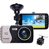 "In-Car Dash Cam, Podofo Dual Lens Full HD 1080P Car Camera Front and Rear DVR Driving Recorder 170° Wide Angle 4.0"" IPS Screen Night Vision/ WDR /G-Sensor/Parking Mode/Motion Detection/Loop Recording"