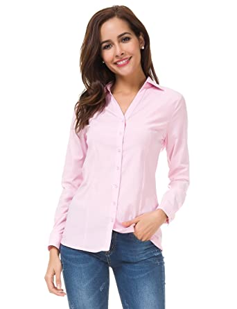 8faa1d82d MOQUEEN Womens Deep V Button Down Shirts Casual Long Sleeve Basic Simple Blouse  Tops Pink