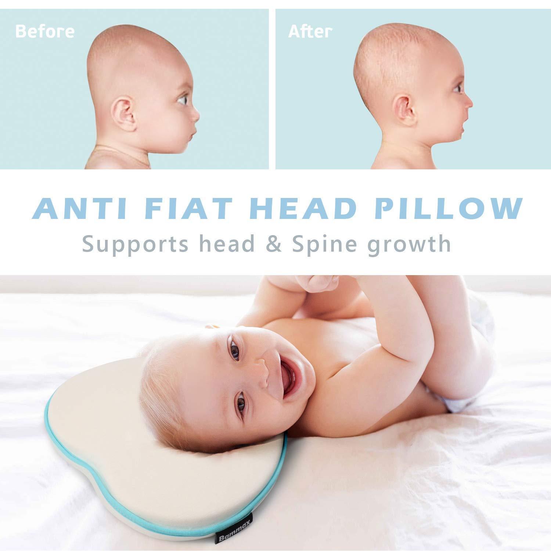 Bammax Baby Pillow Newborn, Newborn Pillow Flat Head, Infant Sleeping Pillow, Soft Breathable Memory Foam Baby Head Shaping Pillow Prevent Infant Flat ...