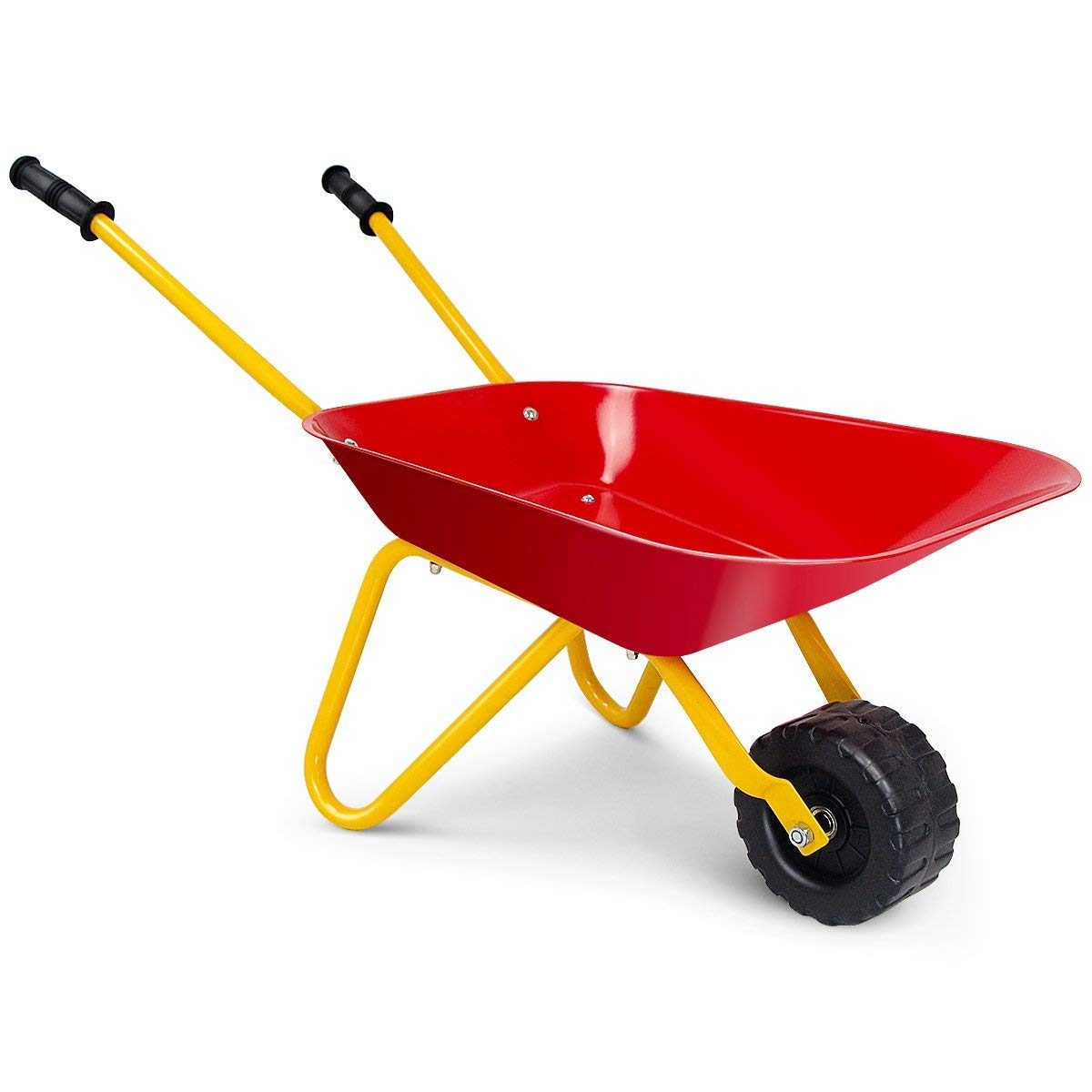 HAPPYGRILL Kids Wheelbarrow, Yard Rover Steel Tray, Metal Construction Toys Kart, Tote Dirt/Leaves/Tools in Garden for Toddlers, Kids Play Tools (red)