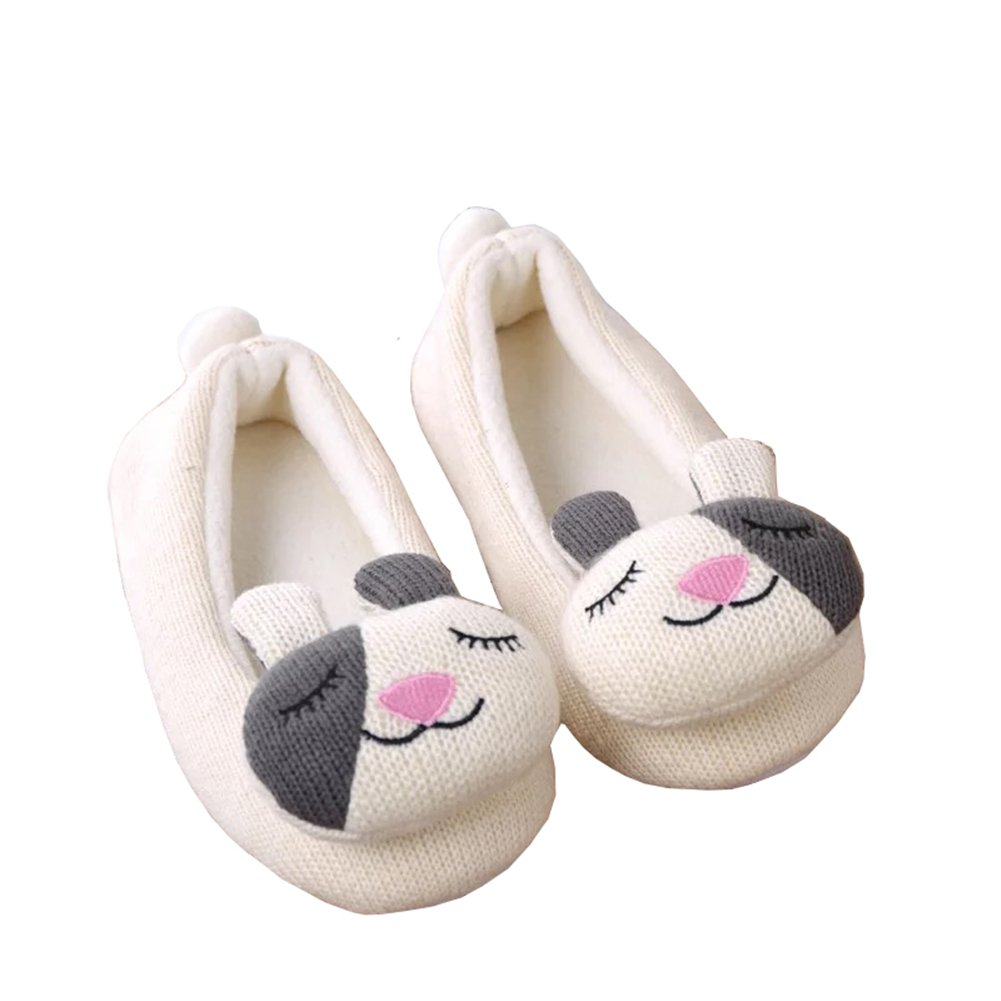 Yiwant Girls Slippers Comfort Cotton Knitted Washable Flat Closed Toe Indoor Shoes with Non-Slip Sole