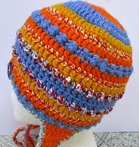 - BlueBear Original Orange, Yellow and Blue Crochet Beanie with Ear-flaps and Braids