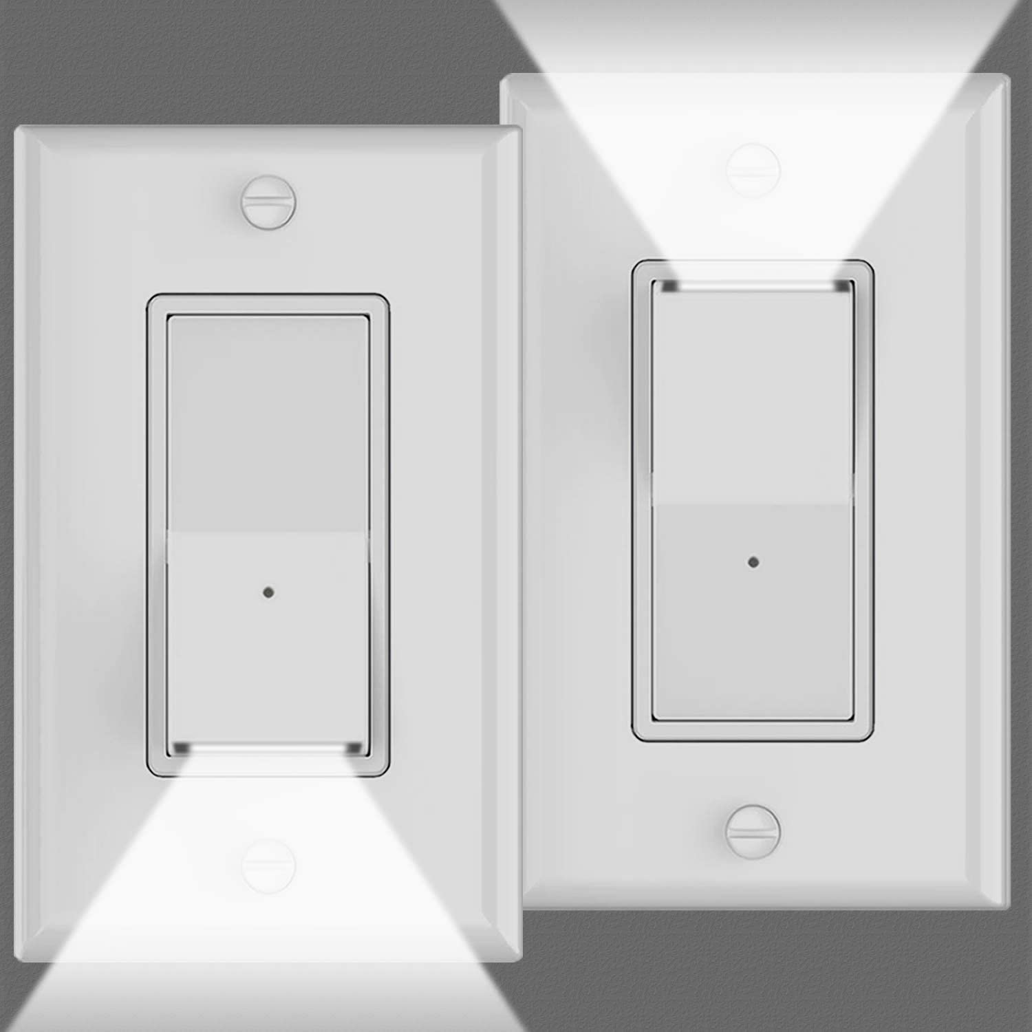 2Pack-SOZULAMP 3 Way Illuminated Light Switch-Easy Install,Perfect Combination of Wall Light Switch and Night Light-Decora Paddle Rocker,15A,120/277V,Dusk to Dawn Sensor,Auto On/Off GuideLight,White