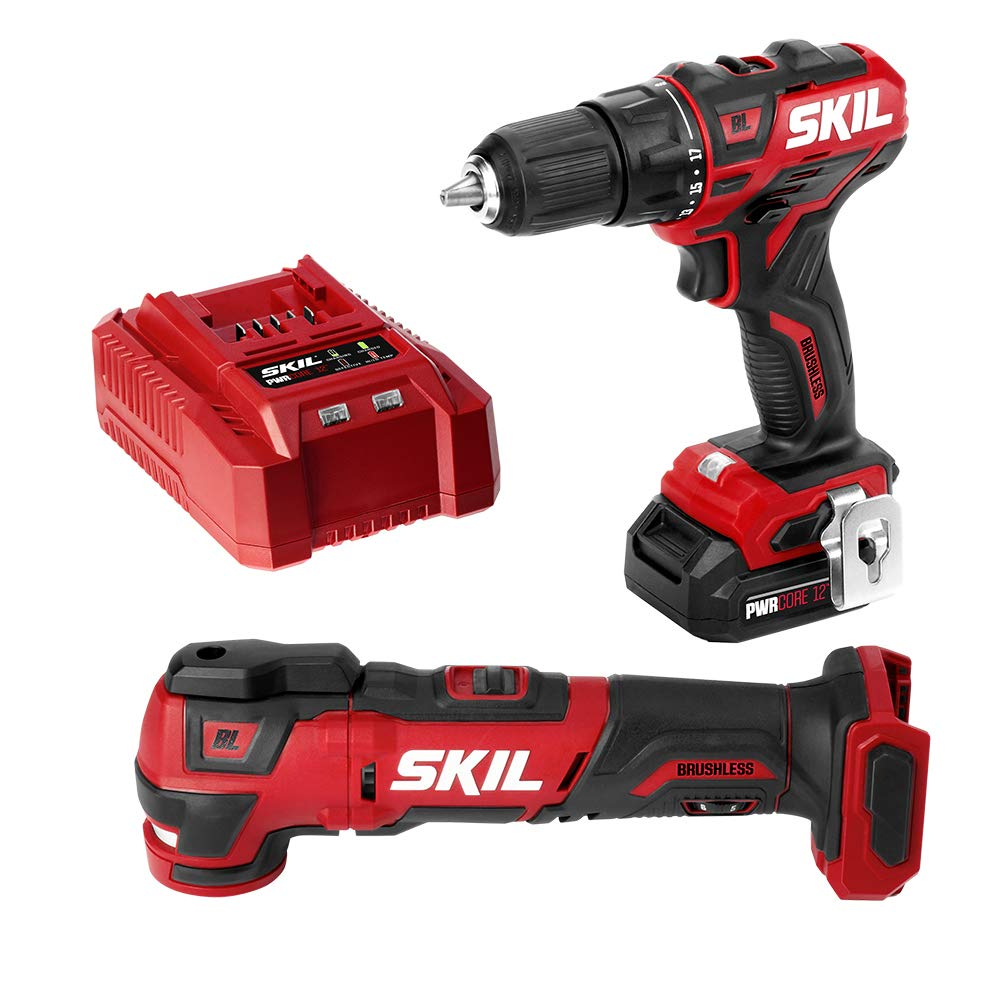 SKIL 2-Tool Kit PWRCore 12 Brushless 12V 1 2 Inch Cordless Drill Driver and Oscillating MultiTool, Includes 2.0Ah Lithium Battery and Standard Charger – CB738601